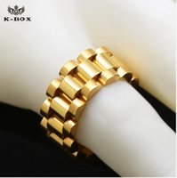 Wholesale Classic Style Ring - 24K gold plated classic men rings Stainless Steel 24K Golden Link Ring Hip hop Mens Watchband Style President Big Ring US Size 8-12