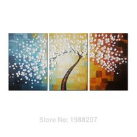 Wholesale Oil Painting Stretched Canvas Prints - Flower Full Blossom 100% Hand Painted 3 Panels Stretched and Framed Flower Artwork Floral Oil Paintings on Canvas Wall Art Decor