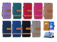 Wholesale Case Jean Iphone - CANVAS Wallet Leather Case Pouch For Samsung Galaxy S7 Edge S8 Plus 2017 A5 A3 J5 J7 J3 Prime Emerge Strap Jean Stand Phone Cover 100pcs