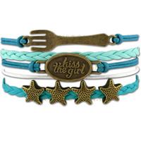 Wholesale Teal Bracelets - Custom-Infinity Love Kiss the Girl Mermaid Bracelet Fork Starfish Charm Wrap Bracelet Turquoise Teal Custom Any Styles Dropshipping