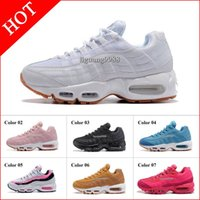 Wholesale Essentials Girls - Free Shipping New Womens Running Shoes Black White Women Air Cushion 95 Essential Sneakers Boots Red Pink Woman Girl Sports Tennies Shoes
