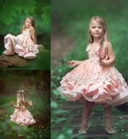 Wholesale Toddler Red Pageant Dresses Cheap - Beautiful Pink Flower Girl Dresses 2017 Lace Carrier Cheap Wedding Dresses for Kids Toddler Pageant Party Wear Child Birthday Party Wear
