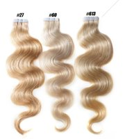 Wholesale skin weft hair extensions for sale - Tape In Human Hair Extensions Inch Full Head g Body Wave Skin Weft Human Virgin Remy Human Hair DHLshipping
