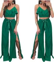 Wholesale Two Piece Linen Casual Suit - Summer new sexy green wide leg pants two-piece suit V-neck lotus leaf side harness shirt irregular fork pants fashion casual women clothing