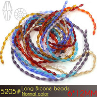 Wholesale Long Necklace Spikes - A5205 Elongated Bicone Beads 6x12mm Normal color Long Bicone Glass Beads 50pcs set For Jewelry Necklace Making