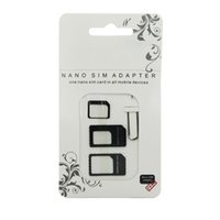 Wholesale Eject Sim For Iphone - Nano SIM Card Adapter 4 in 1 micro sim adapter with Eject Pin Key Retail Package for iPhone 5 5S 6 6S Samsung