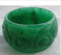 Wholesale Jade Rings Carvings - classic green jade hand carved ring size 9.25 free shipping