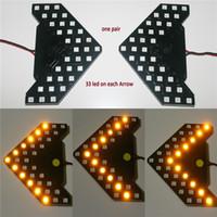 indicateurs de miroirs achat en gros de-2PCS / Lot !! 33 leds séquentielles led lumières flèches indicateur de lampe led led sécurité panneaux côté voiture miroir clignotant 33 LED