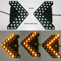 Wholesale Turn Signals Side Mirrors - 2PCS Lot!! 33 SMD Sequential Led Lights Arrows Lamp Indicator Safe led Panels Car Side Mirror Turn Signal 33 LED