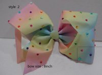 Wholesale Dancing Paper - 9style available 8inch JoJo Siwa Small Pastel Rainbow Signature Hair Bow Dance Cheerleader Pageant Bows 30pcs no paper card
