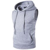 Wholesale Fleece Hooded Vest - Wholesale- 2017 Men's Fashion Fleece Plain Fit Hooded Sleeveless Vest hoodies