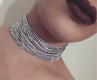 Wholesale Multilayer Choker Necklace - Rhinestone Choker Crystal Maxi Statement Necklace Multilayer Crystal Chokers Necklace Fashion Women Collar Jewelry Accessories DC36