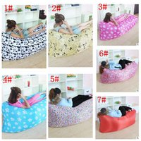 Wholesale Fast Inflatable Sofa Sleeping Bag Lazy Inflatable Couch Air Lounger cartoon animal design Camping Beach Sleeping Bag D Oxford LJJK655