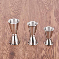 Wholesale Cocktail Measure Cup - 3 Size Stainless Steel Bar Jigger Cocktail Bartender Drink Mixing Measuring Liquor Bar Party Favor 3pcs lot DEC281