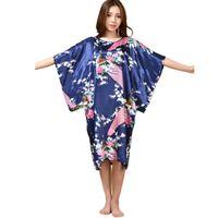 vestido de verão chinês venda venda por atacado-Venda por atacado - Venda quente de seda das mulheres chinesas Sleepwear Robe Summer Lounge vestido de casa Pavão Impresso Yukata Nightgown Plus Size J06