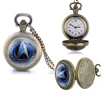 Wholesale Big Stationary - Bronze Star Trek pocket watches big dial mens womens students chain necklace watch Antique wholesale gift pocket watches