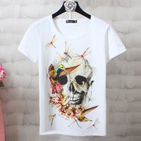 Wholesale female skull shirts - Cotton T-shirts for Women 2017 Fashion Ladies Short Sleeve Summer Top Female Harajuku Skull Printed Tshirt Femme Plus Size S-4XL