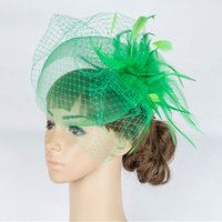 Wholesale Mixed Feathers For Hair - Free Shipping Hot Sale green Fantastic fascinators with Feather For Bridal hair accessories 2017 Bridal Wedding tiara Beautiful Hair Combs