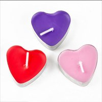 Wholesale Purple Birthday Candles - 2Hours Candle Hosley's Set of 50 Heart Style Tea Light Candles Smokeless And OdourlessTealight Birthday Valentine's day Weddings Product