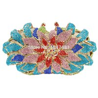 Wholesale Crystal Rose Evening Handbag - Wholesale- newest rose flower shape rhinestones Clutch Evening Bag Luxury Crystal diamante Clutch Bag for wedding Party purse handbag SC172