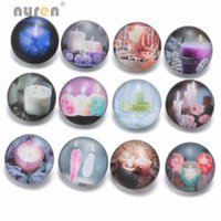 Wholesale Wholesale Candle Charms - 12pcs lot New Candle Pattern 18mm Glass Snap Button Charms Jewelry Fit Snap Bracelet Jewelry KZ0365
