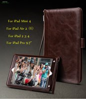 Wholesale Ipad Case Leather Hand Bag - Cover Case For iPad 234   Mini 4   Air 2   Pro 9.7 inch,Retro Briefcase Hand Belt Holder Leather Auto Wake Up  Sleep Smart Stand Flip Bags