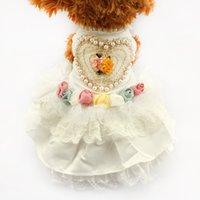 Wholesale ivory designer wedding dresses resale online - armipet Love Pearl Tutu Lace Dog Dresses Princess Wedding Skirt For Dogs Puppy White Dress Clothing