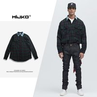 Wholesale Mens Quilts - Mens Plaid Shirt and Jeans In 2017 Autumn and Winter Quilts Hem Long Sleeved Shirt Collar Arc