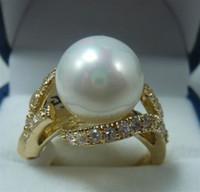 bonitas conchas al por mayor-Envío gratis Pretty 18KGP 12MM White Shell Pearl Anillo de mujer tamaño 7 # 8 # 9 #