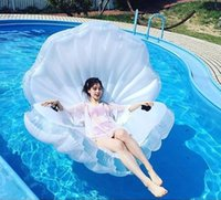 Wholesale Pool Shell - Giant Inflatable Shell Pool Float Summer Water Air Bed Lounger Inflatable Raft Clamshell With Pearl Floating Bed 170*120*120 OOA1268