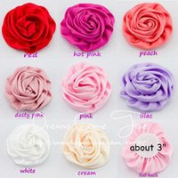 """Wholesale Handmade Girls Accessories - Wholesale-50pcs lot 3"""" 8Colors Handmade Rolled Rosette Flowers For Girl Hair Accessories Artificial Satin Ribbon Flowers For Baby Headband"""