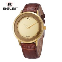 Wholesale Water Resistant Watch China - BELBI Fashion Men Wristwatches AAA Genunie Leather with Waterproof Quartz Movement Analog Male China Watches Brand