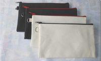 lona embreagem saco simples venda por atacado-100 pcs 19.5 * 11 cm de lona de algodão preto sacos de cosméticos DIY mulheres em branco simples zíper saco de maquiagem saco de embreagem telefone casos organizador de presente