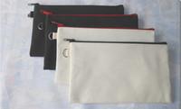 ingrosso sacchetto nero cosmetico della chiusura lampo-100pcs 19.5 * 11 cm nero cotone tela borse cosmetiche fai da te donne in bianco pianura zipper sacchetto di trucco del telefono pochette regalo organizzatore casi