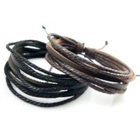 Wholesale mexican gold price bracelet 18k resale online - DHL Handmade Men s Genuine Leather Braided Bracelets Jewelry for Women Multilayered Factory Price