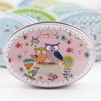 Wholesale Wholesale Cartoon Tin Boxes - Cute Cartoon Owl Drawing Tin Storage Box 12Piece lot Oval Soap Jewelry Case Mini Metal Creative Treasure Chest Small Thing Storage Container