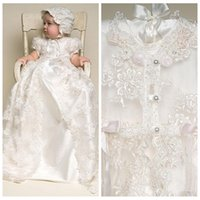 Wholesale Cheap Baptism Gowns - Baby First Communion Dresses Two in One Vintage Lace Christening Gowns Short Sleeves Ivory White Long Babies Baptism Party Gowns Cheap