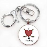 Wholesale Ice Hockey Jewelry - Brand Keep Calm and Love Hocky keychain casual sports ice hockey key chain ring men women fashion keyring jewelry