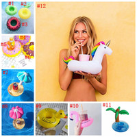 PVC Inflatable Drink Cup Holder 12 Styles Unicorn Flamingo Donut Canard Aux Champignons Fruit Beverage Holders Floating Pool Beach Stand 500 OOA2086