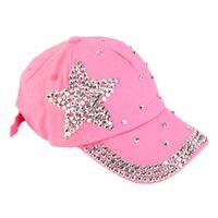 Wholesale Studded Hats Men - Wholesale- New Women Girls Rhinestone Star Shaped Studded Cotton Hat Bling Shining Pink Baseball Cap Summer 2016 Hot Sale