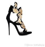 Wholesale Hand Shaped Charms Black - Hot Sexy Hollow out flowers Gold Leaf New Style gorgeous diamond ultra luxury open peep toe sandals High heels Female shoes DHL free