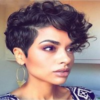 Wholesale Top Curly Human Hair Wigs - Top Quality New arriving short cut full wig Simulation Human Hair fashion short curl full wigs
