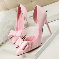 Wholesale Wholesale Pointed Ballet Shoes - High quality New Spring Summer Women Pumps Sweet Bowknot High-heeled Shoes Thin Pink High Heel Shoes Hollow Pointed Stiletto Elegant G3168-2