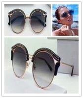 perlenrahmen großhandel-Populäre neue Art und Weisefrauenmarken-Designer-Sonnenbrille Jimmy-Gläser runder Retrostilrahmen mit Blitz bördelt Schutzglas-Sommerart