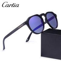 Wholesale New Sunglasses For Men - Brand Unisex Retro Oval Sunglasses for men polarized mirror new frame fashion high quality TR90 Men   Women Sunglasses CARFIA 4312 with box