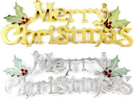 Wholesale Christmas Indoor Wall Decorations - Merry Christmas Plaque Sign Home Shop Dooration Wall Decorative Christmas Tree Pendant Drop Ornament 15cm to 60cm gold silver
