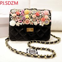 Wholesale Handmade Silk Handbags - PJ.SDZM Girl Luxury Camellia Flower Handbag Handmade Polymer Clay Evening Bag Rhinestone One Shoulder Cross-Body Chain Bags