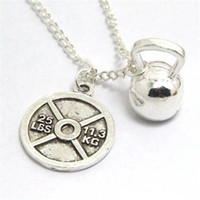Wholesale Weight Plate Jewelry - 12pcs lot 25LB WEIGHT PLATE & KETTLEBELL Necklace - Crossfit Jewelry Fitness Charm Lifting