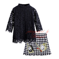 Wholesale Long Style Blouse Patterns - Pettigirl Fashion Autumn Girl Clothing Set Long Sleeve Black Lace Blouse Houndstooth Skirt With Clock Pattern G-DMCS908-852
