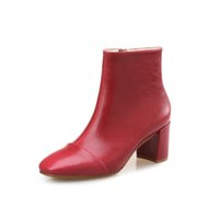 Wholesale Low Beige Boots For Women - 2017 NEW ankle boots for women fashion square toe thick heel women boots high heel genuine leather lady boots size31-40